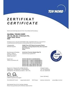 TÜV Certificate / Certificate