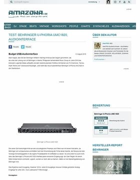 Test: Behringer U-Phoria UMC1820, Audiointerface