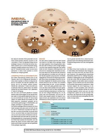 Sticks Meinl Generation X China Crash Cymbals