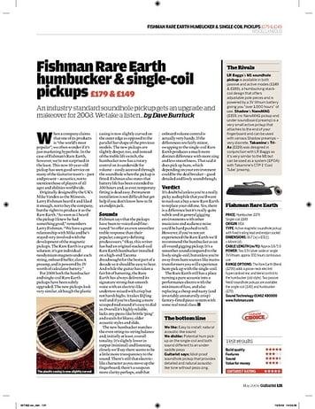 Guitarist Fishman Rare Earth humbucker and singlecoil pickups