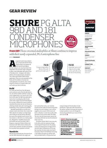 Rhythm Shure PG Alta 98D And 181 Condenser Microphones