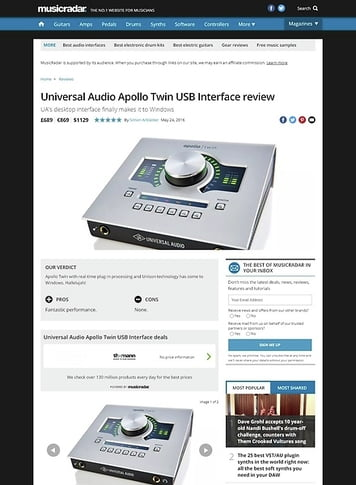 MusicRadar.com Universal Audio Apollo Twin USB Interface