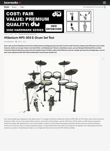 Bonedo.de Millenium MPS-850 E-Drum Set